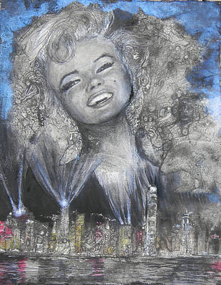 Painting - Norma Jean In Lights by Anne-D Mejaki - Art About You productions