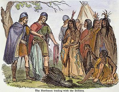 Norsemen Photograph - Norsemen And Native Americans by Granger