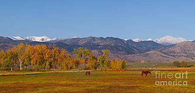 North Boulder County Colorado Front Range Panorama With Horses Art Print