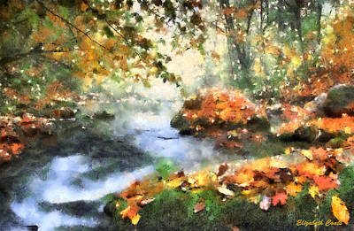 Fallen Leaf On Water Drawing - North Carolina Autumn  by Elizabeth Coats