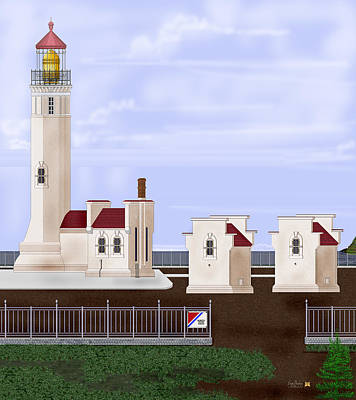 Painting - North Head Lighthouse Original Structures by Anne Norskog