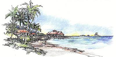 Art Print featuring the drawing North Sound Beach by Andrew Drozdowicz