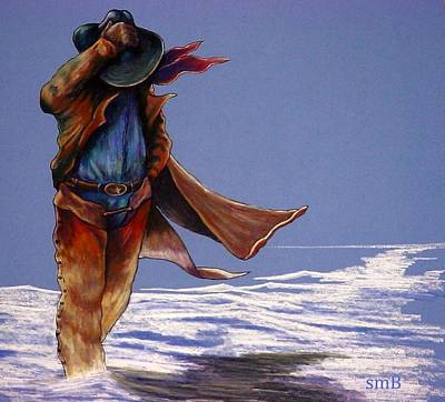 Denim Drawing - North Wind Blowin' by Susan Bergstrom