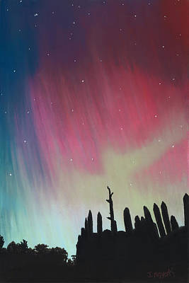 Northern Lights - Town Creek Indian Mounds Original by Jackie Novak