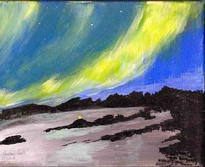 Art Print featuring the painting Northern Lights 1 by Audrey Pollitt