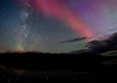 Astro Photograph - Northern Lights And The Milky Way by Cale Best