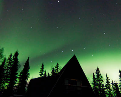 Northern Lights Liven Under The Dipper Art Print by John Aldabe