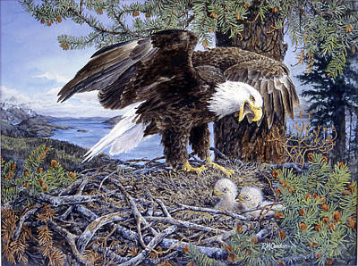 Eaglet Painting - Northern Nest by RoseMarie Condon