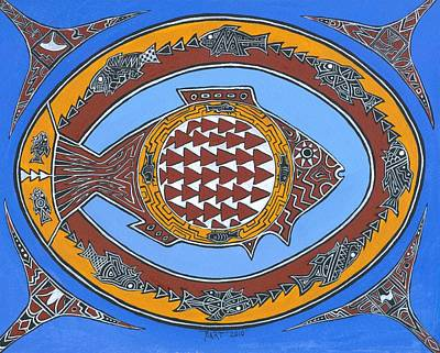 Indian Tribal Art Painting - Northwest Fusion Fish by Bart Theiler