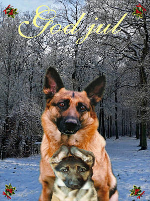 Friend Holiday Card Mixed Media - Norwegian  Christmas Holiday German Shepherd And Puppy God Jul by Eric Kempson