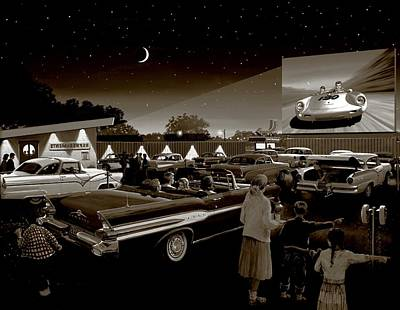 Drive-ins Painting - Nostalgic Drive In Theater by Michael Swanson