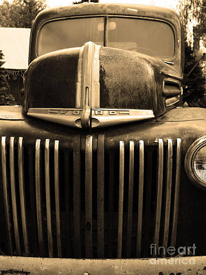 Old Trucks Photograph - Nostalgic Rusty Old Ford Truck . 7d10281 . Sepia by Wingsdomain Art and Photography