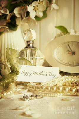 Paper Jewelry Photograph - Note Card With Jewerly For Mother's Day by Sandra Cunningham