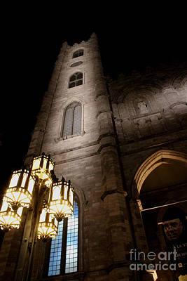 Photograph - Notre Dame Basilica Tower Montreal  by Lee Dos Santos