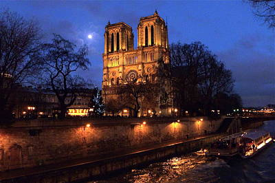Notre Dame By Full Moon Art Print by Amelia Racca