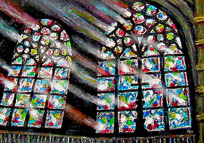 Notre Dame Painting - Notre Dame Cathedral Paris - Beams Of Faith by Ronald Haber