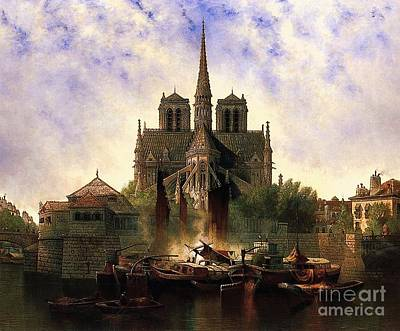 Painting - Notre Dame Cathedral Paris by Pg Reproductions
