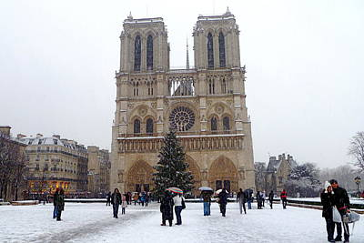 Notre Dame Christmas Paris Art Print by Amelia Racca