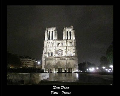 Photograph - Notre Dame In Rainy Night Paris France by John Shiron