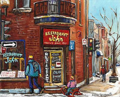 Greasy Spoon Restaurants Painting - Notre Dame Street Montreal Saint Henri by Carole Spandau