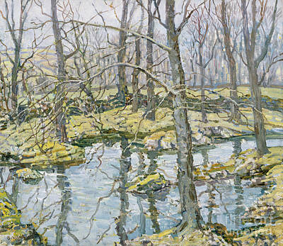 Reflecting Water Painting - November  by Walter Elmer Schofield