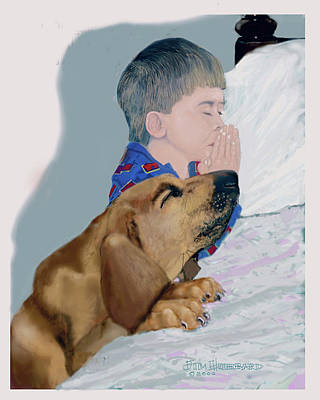 Art Print featuring the drawing Now I Lay Us Down To Sleep by Jim Hubbard
