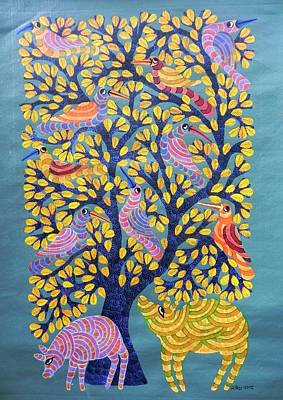 Gond Tribal Art Painting - Npt 39 by Narmada Prasad Tekam