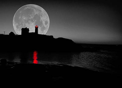 Photograph - Nubble Moon by Emily Stauring