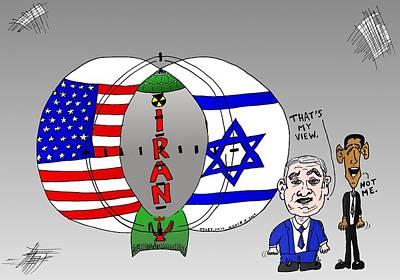 Nuclear Iran Cartoon Original by Yasha Harari