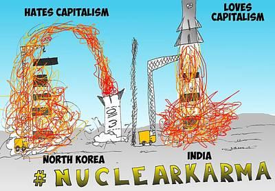 Binary Options News Cartoon Mixed Media - Nuclear Karma Binary Option by OptionsClick BlogArt