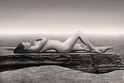 Woman Painting - Nude Female On Beach by Sumit Mehndiratta