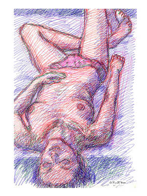 Drawing - Nude Female Sketches 6a by Gordon Punt