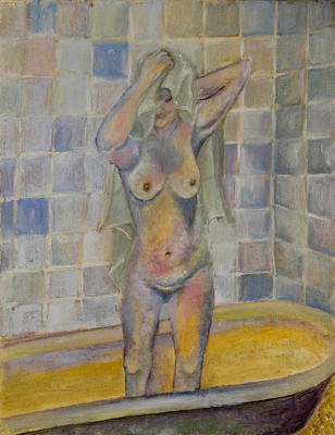 Nude In Bath Art Print by Kristelle Ulrich