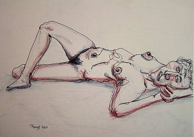 Nude In Contour Laying Art Print by Rand Swift