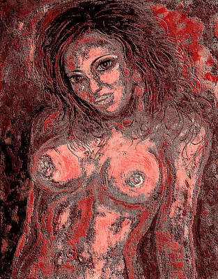 Salmon Mixed Media - Nude Lady 1 by Natalie Holland