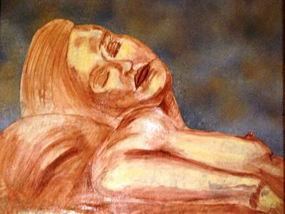 Mixed Media - Nude Lady In Repose by Angela Murray
