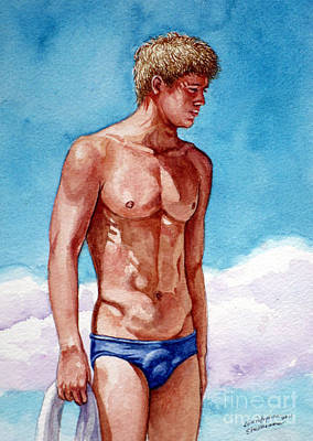 Nude Male Blonde In Blue Speedo Art Print