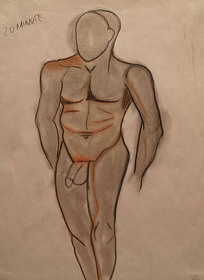 Drawing - Nude Male Drawing by Teri Schuster