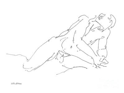 Drawing - Nude Male Drawings 10 by Gordon Punt
