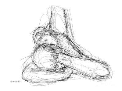 Art Print featuring the drawing Nude Male Sketches 3 by Gordon Punt