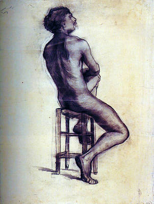 Nudist Painting - Nude Man Sketch by Sumit Mehndiratta