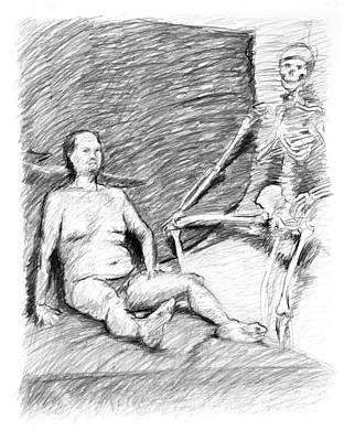Male Nude Drawing Photograph - Nude Man With Skeleton by Adam Long
