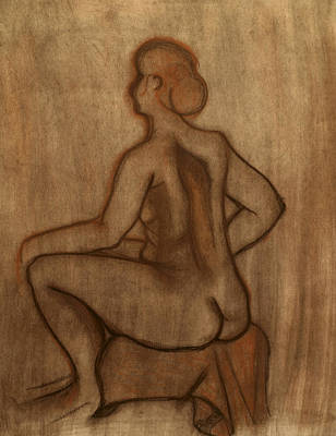 Drawing - Nude Model Drawing by Teri Schuster
