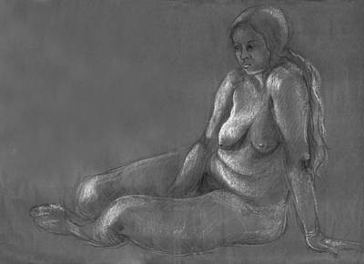 Drawing - Nude Of A Real Woman In Black by Rachel Hershkovitz