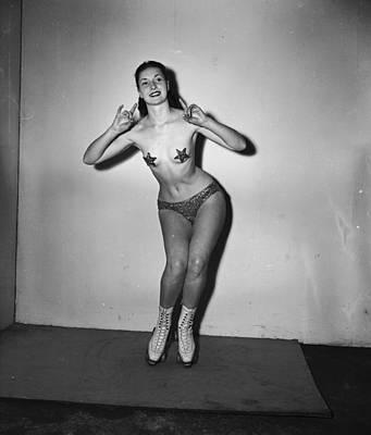 Nude On Skates Art Print by George Konig