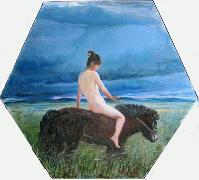 Painting - Nude On The Horse by Ji-qun Chen