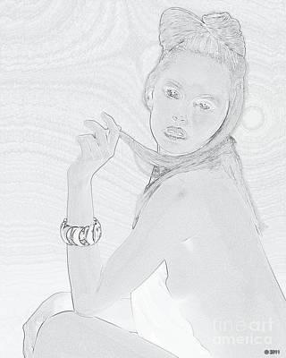 Nude Sexy Portrait Of Blonde Girl In Pencil Sketch Look Art Print
