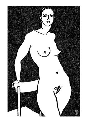 Figurative Drawing - Nude Sketch 11 by Leonid Petrushin