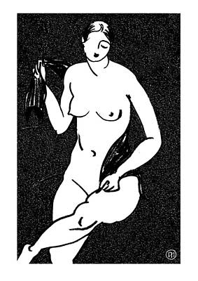 Lady Drawing - Nude Sketch 12 by Leonid Petrushin