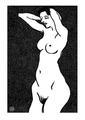 Figurative Drawing - Nude Sketch 23 by Leonid Petrushin